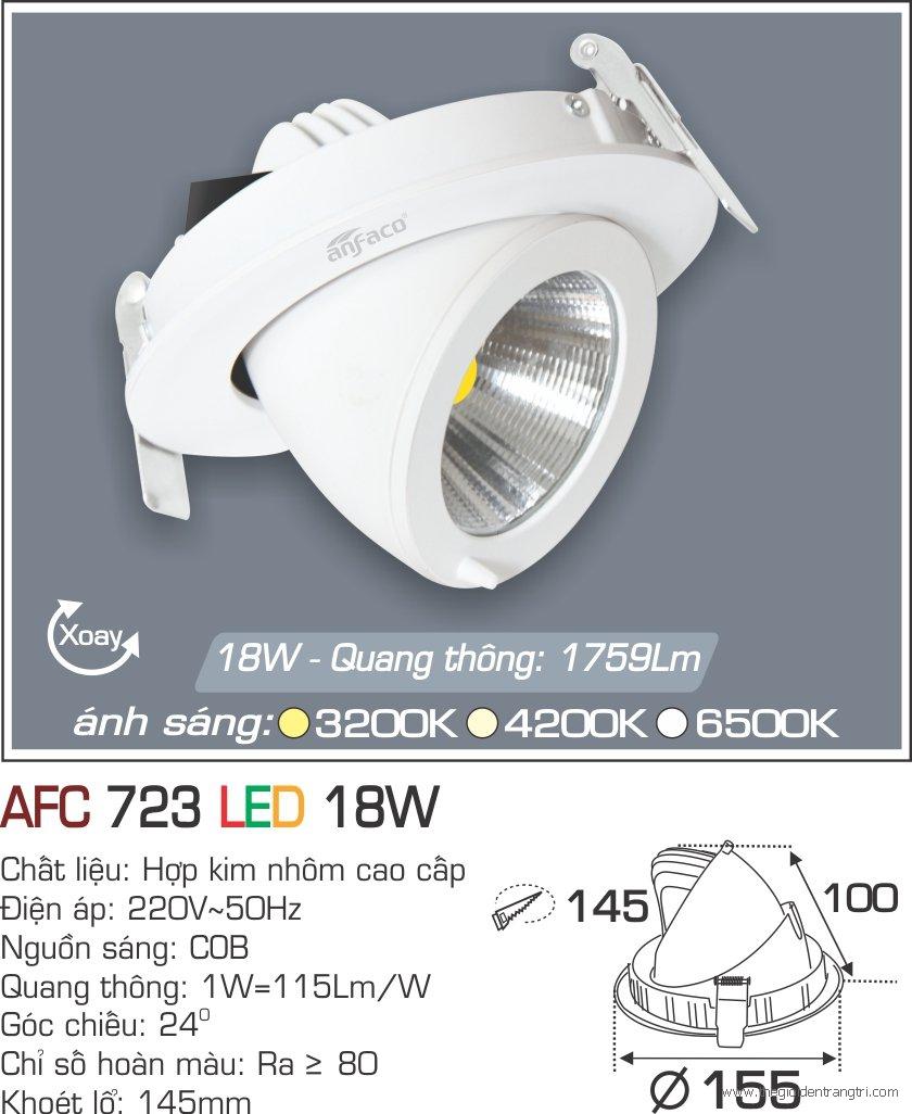 Đèn LED Âm Trần Chỉnh Hướng 18W AFC 723 Ø145
