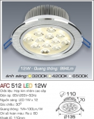 Đèn Downlight LED 12W AFC 512 Ø110