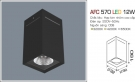 Đèn Lon Nổi Vuông Led 12W AFC 570D
