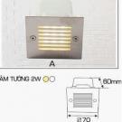 Đèn Âm Tường AFC LED 2W Mẫu A 70x70