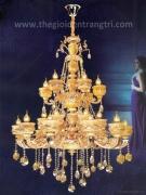 Đèn Chùm Pha Lê Nến Đồng NLNC9921-24 Ø1150