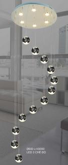Đèn Thả LED Thông Tầng KH-THD09B-12 Ø600xH3000
